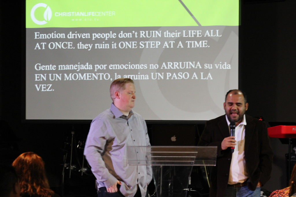 Pastor Brent brought the truth about Samson (and us) as Jorge Arevalo interpreted