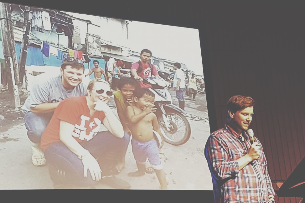 Our other 2 campuses followed suit today as well - Pastor Sam shared with NWI how missions trips to the Philippines and Colombia changed his life (pic on screen from his first visit to Philippines)