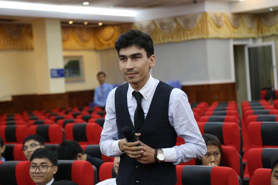 """Beltei really is an """"international"""" university, with students from several different nations, including this bright young man from Turkmenistan, whom we met on our last trip here."""