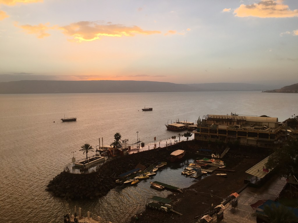 The view of the Sea of Galilee that greeted us from our hotel room this morning-