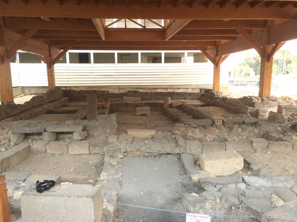 But no doubt the most AMAZING site today was at Magdala, where a synagogue that Jesus likely visited has been uncovered just in the past few years -it's the oldest synagogue  excavated in Galilee & includes a stone with the world's oldest carved menorah!
