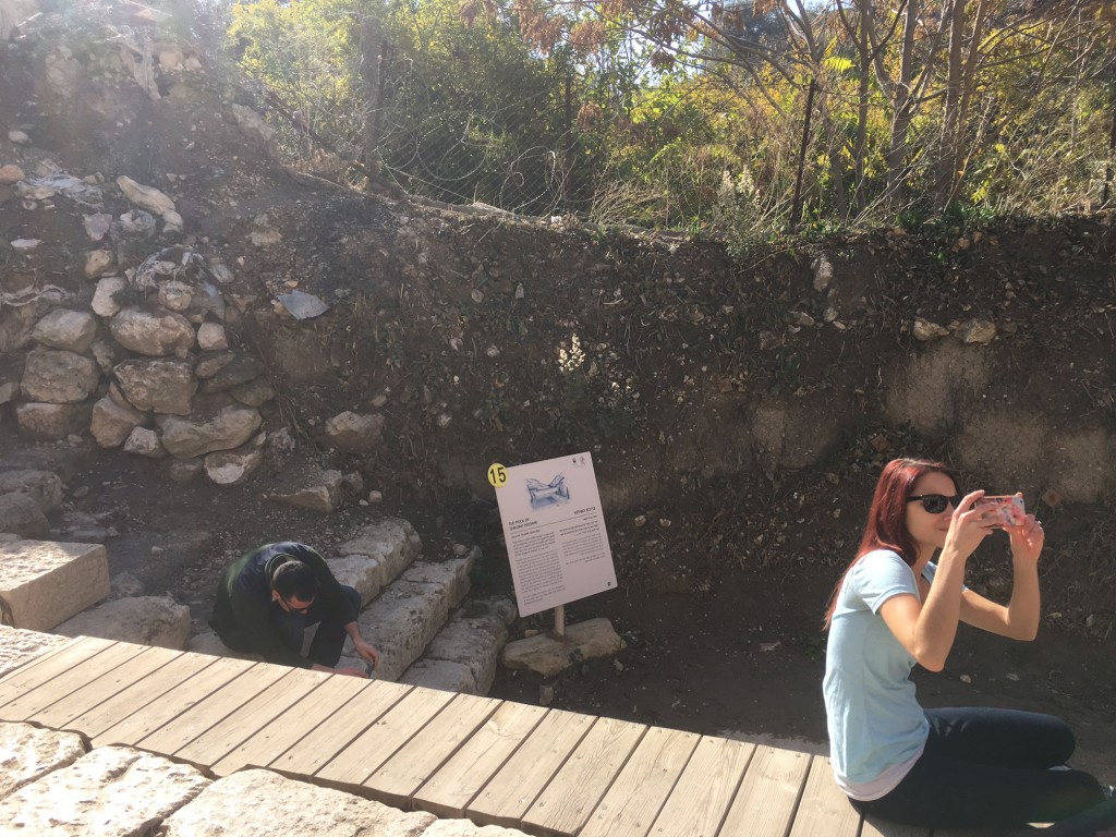 Our first stop today was climbing down some never-ending stairs to the City of David, where the pool of Siloam (see John 9) was located.  (It doesn't look like much of a pool now, but it's there beside Nikki Bosi)