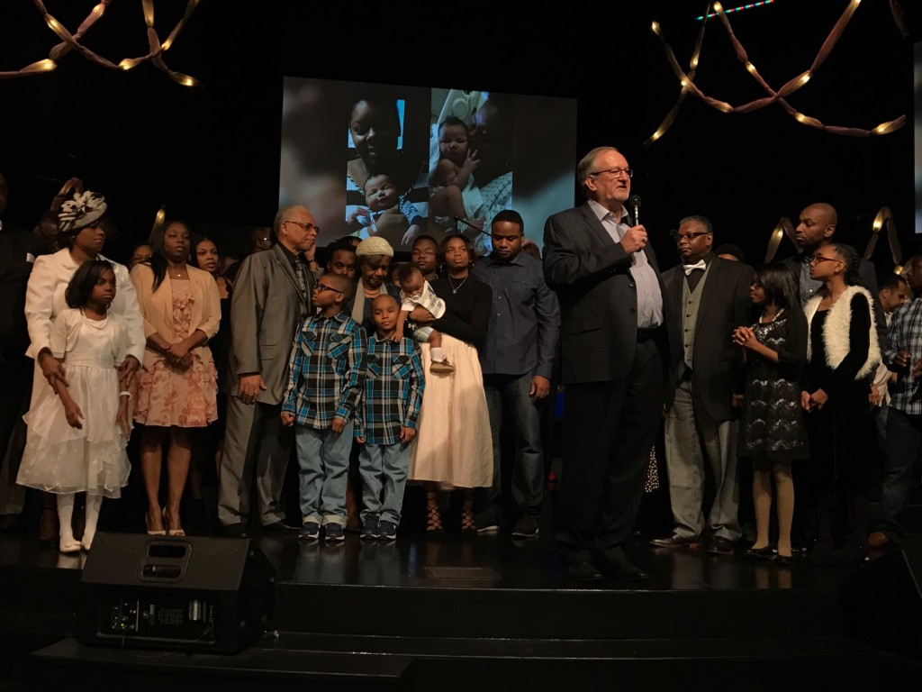 "Today was very special as we dedicated Mathias LaBranche to the Lord on Audrey's (his late mother) birthday. It was also special because about 50 members of her family were present to honor her memory & celebrate Mathias, whose name means ""gift of God"""