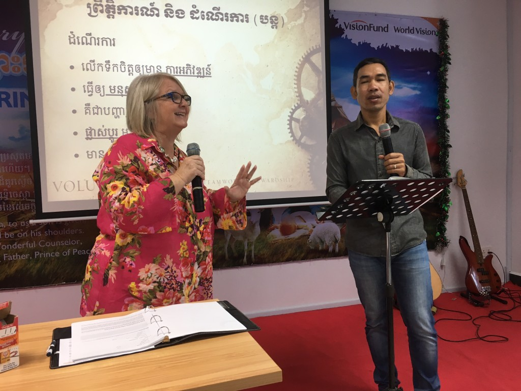With the help of our friend from New Life Fellowship, Pastor Samnang, we taught about 75 of VisionFund's managers from around the country.