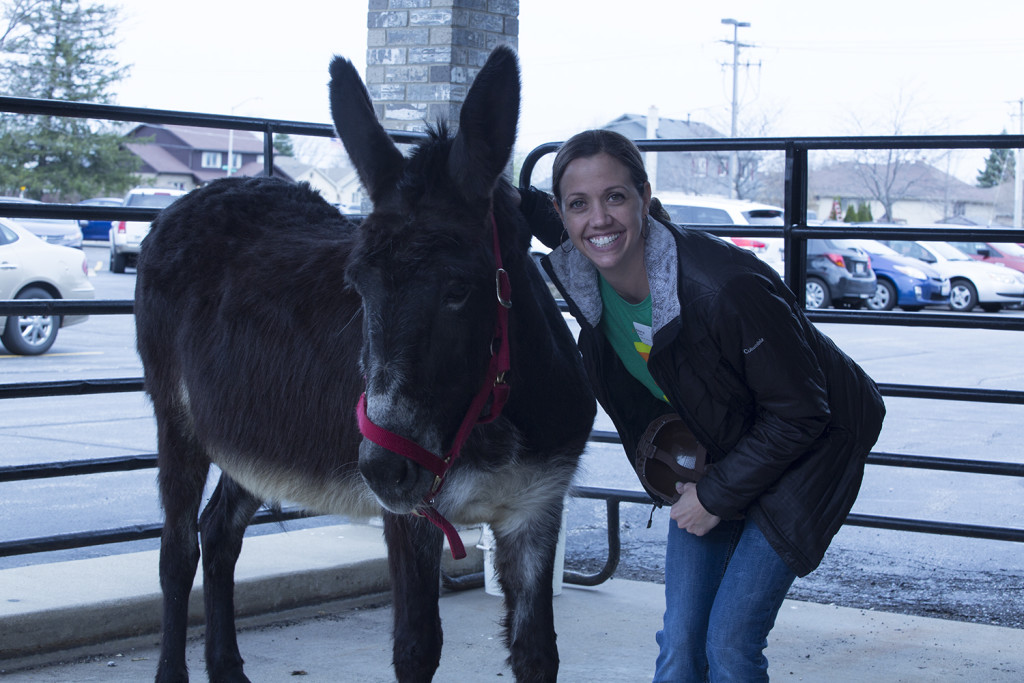 Palm Sunday w/a donkey - (on the left; that's my favorite Children's Director, Stacy Hunter on the right)