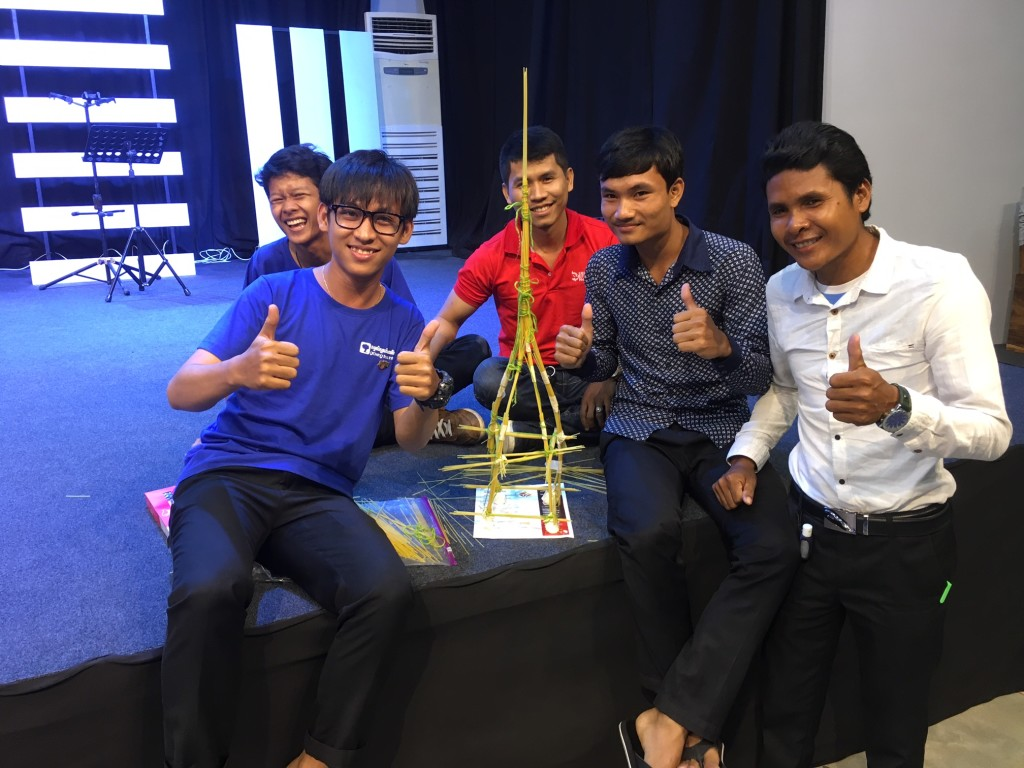 and we have a WINNER: not only did these 5 guys have the tallest tower in today's competition; we did this same exercise at all 3 seminars on this trip & they beat EVERYBODY!
