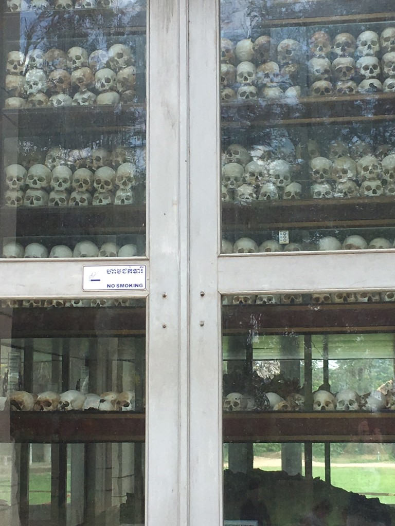 At least 20,000 people died in the Killing Fields, and this memorial contains many of their skulls.