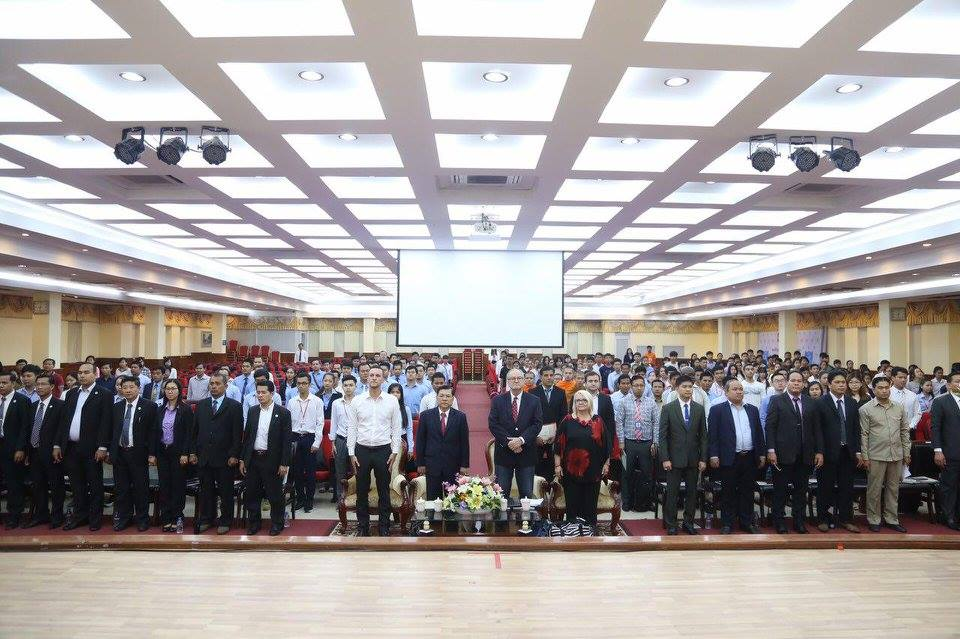 During today's opening ceremonies at BELTEI international University. (our host, Pastor Jesse McCault is to my left, right beside the President/Founder of BELTEI, Mr. Ly Cheng