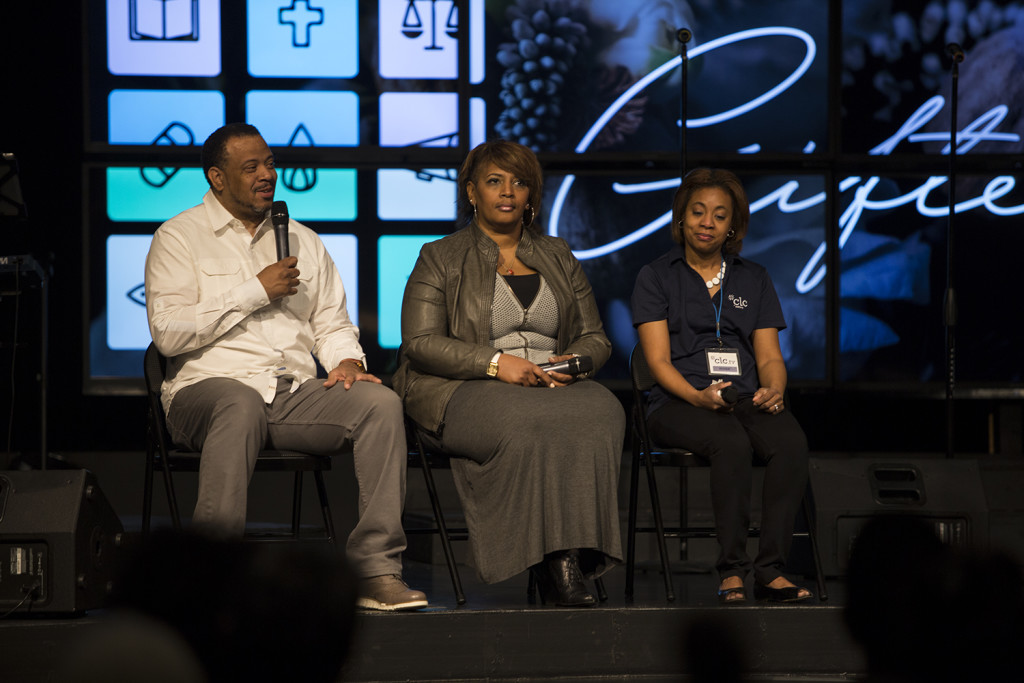 At the Tinley Park campus, I enlisted the help of 15 CLC'ers who shared their stories of being baptized in the Holy Spirit - L to R: Wes & Neesha Stringfellow & Sherece Thompson.