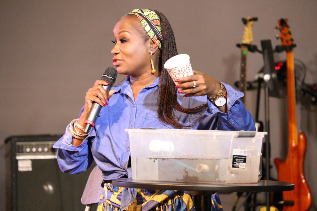Dr. Bailey demonstrated the water filters that she uses to bring clean water to some of the most difficult places on earth where she ministers