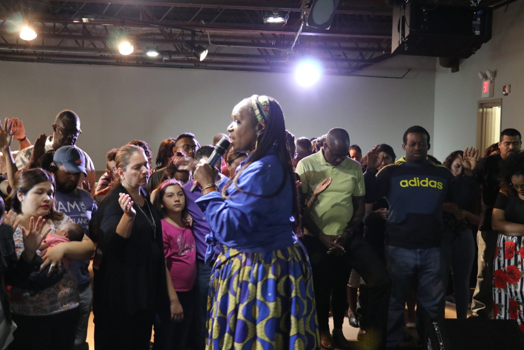 Practically the entire congregation came forward for prayer at the close of her message!