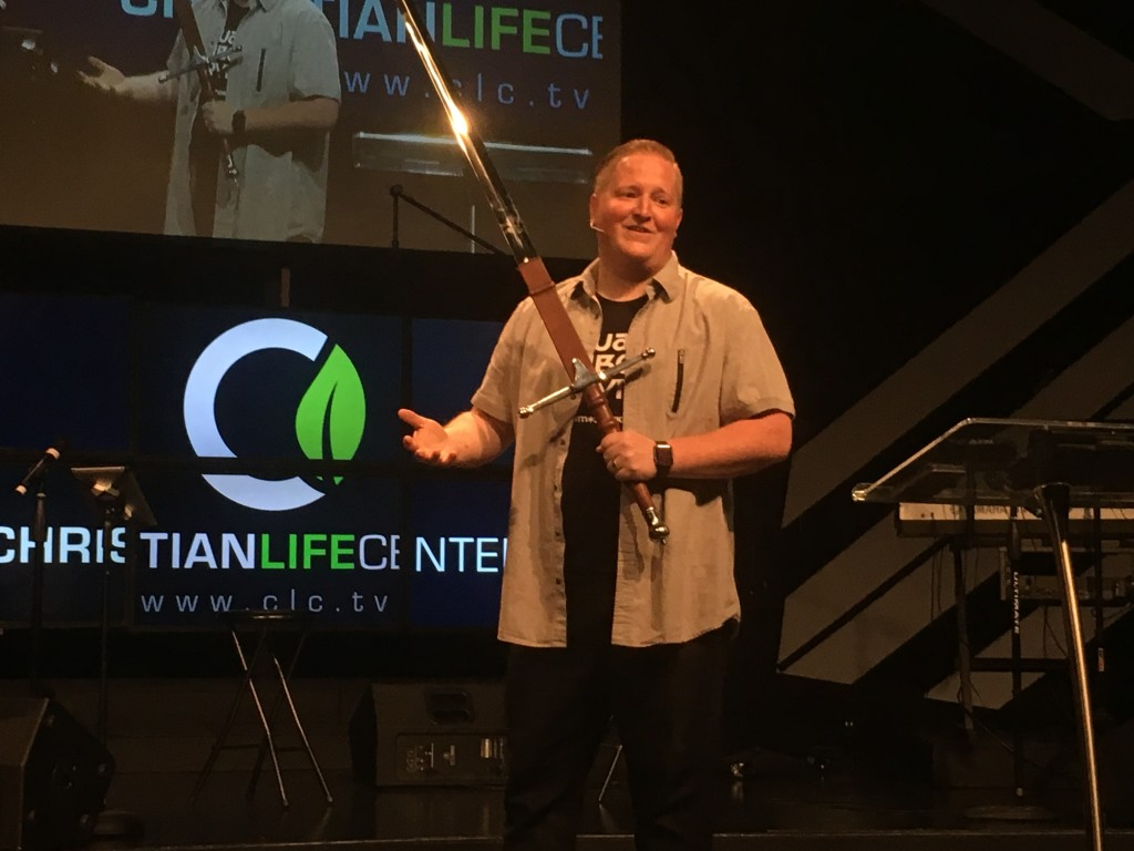 Pastor Brent brought a great word & took a page from his mom's book with his sword illustration-