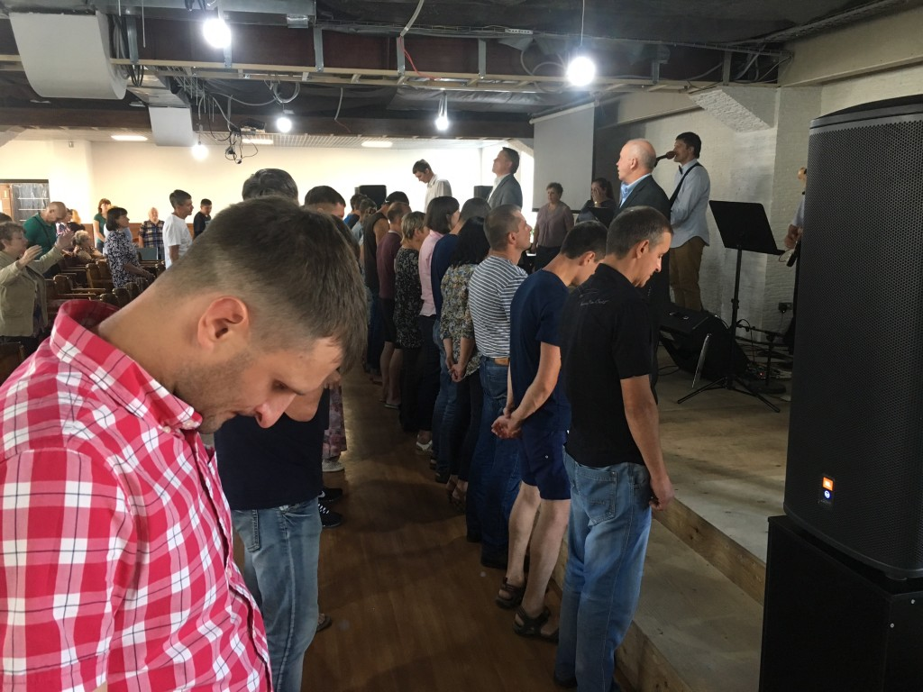 As seems to be the custom here, many people came forward for prayer tonight-
