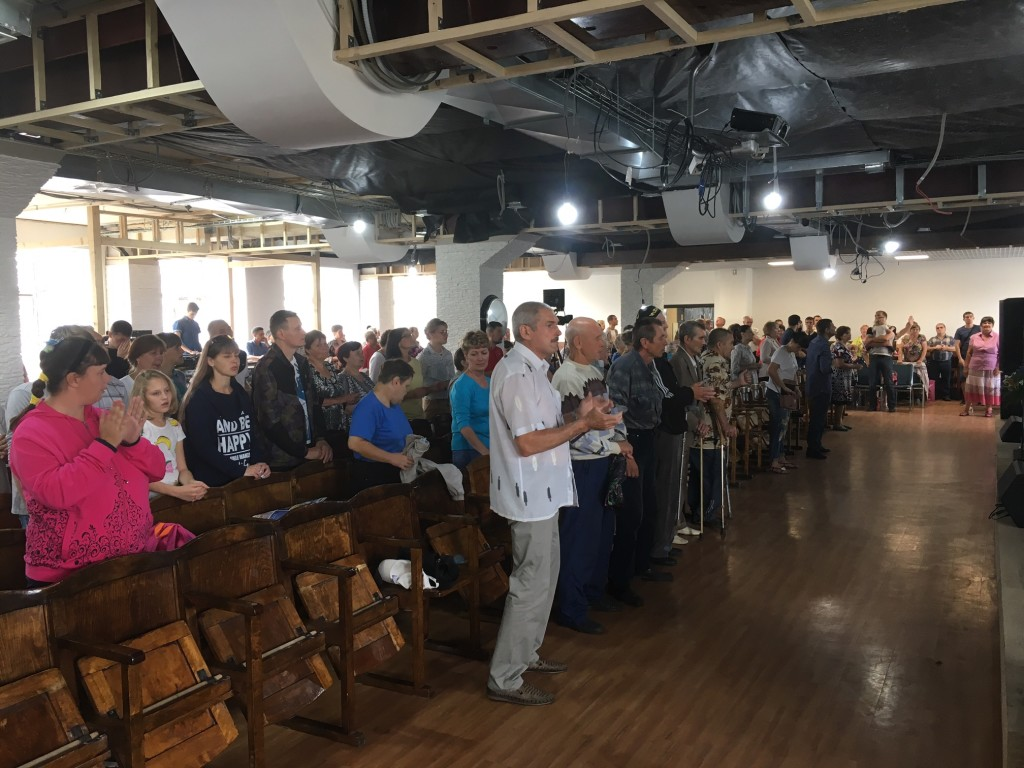 Some of the congregation at one of the four weekend services here in Novokuznetsk - so neat to hear songs we know being sung in Russian!