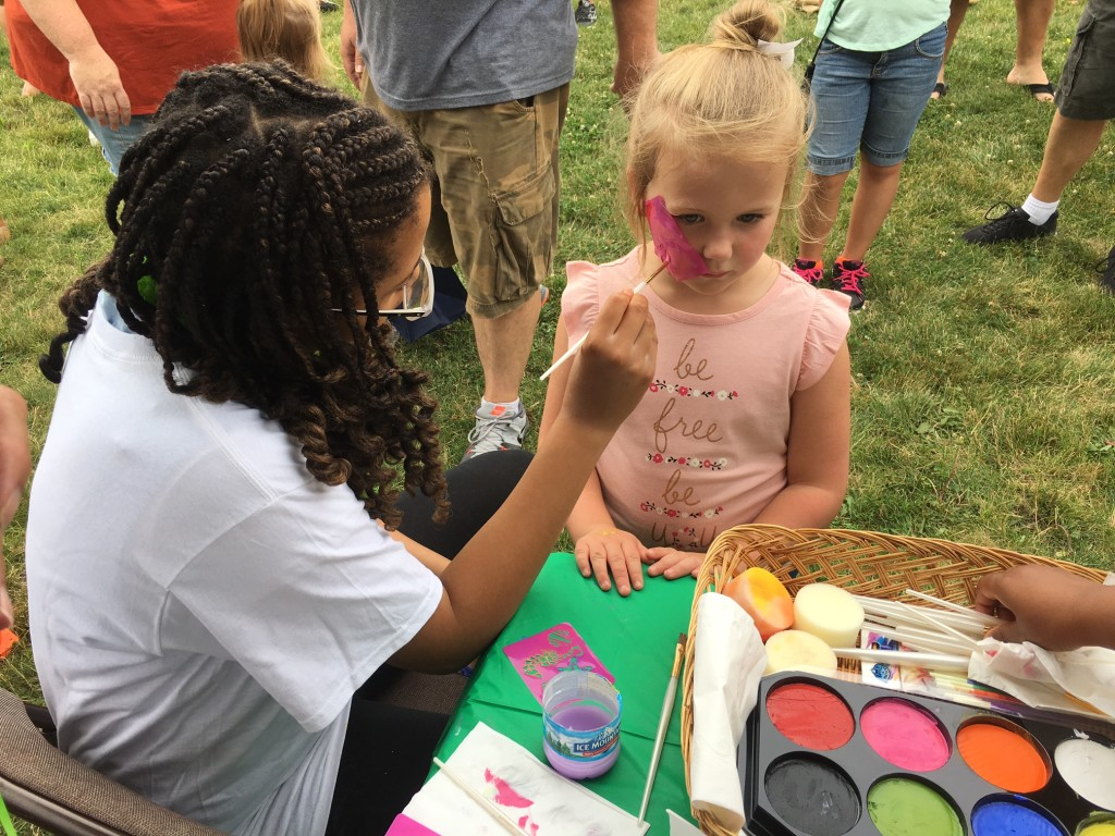 Our face-painting booth was a popular spot at Tinley's 125th Anniversary celebration!