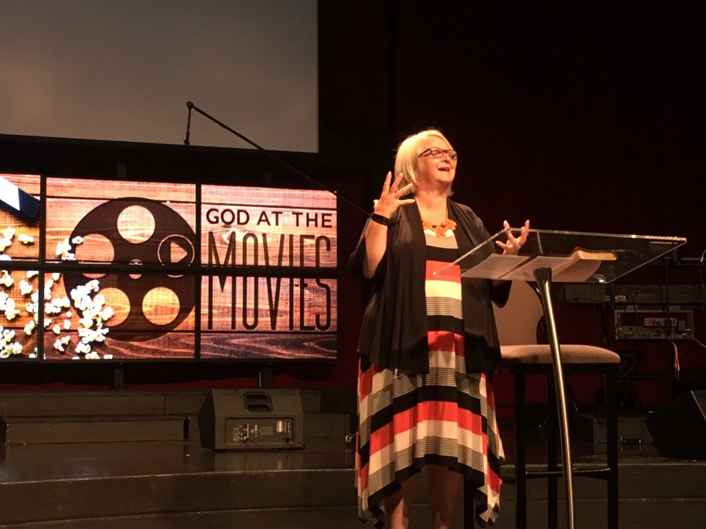 "This lady was AMAZING today (also, as usual). Thanks, CLC, for honoring her birthday (which is actually this coming Wednesday). Her message from ""The Shack"" was the most powerful of our God@the Movies series and brought TONS of people to the altar for healing today!  You can feel her passion through this pic-"