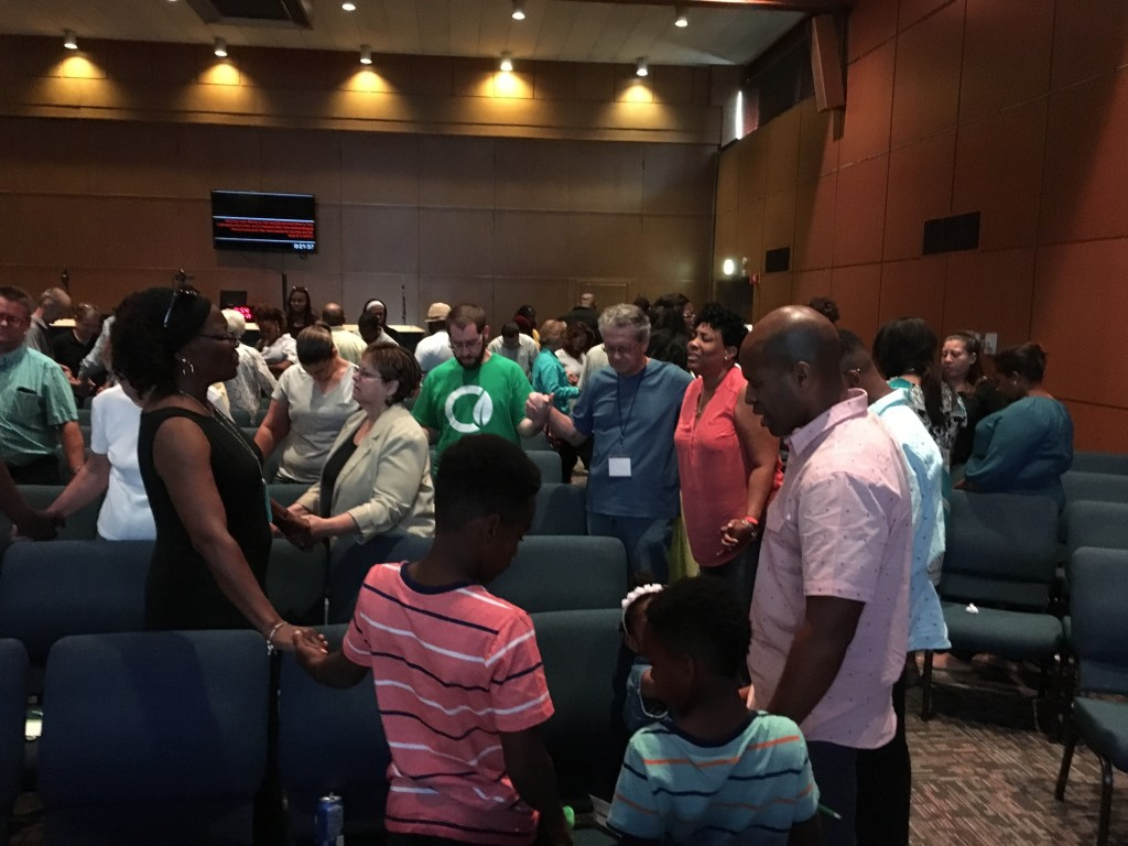 At each campus today, we prayed in multi-cultural circles of prayer for God to heal the racism in our land!