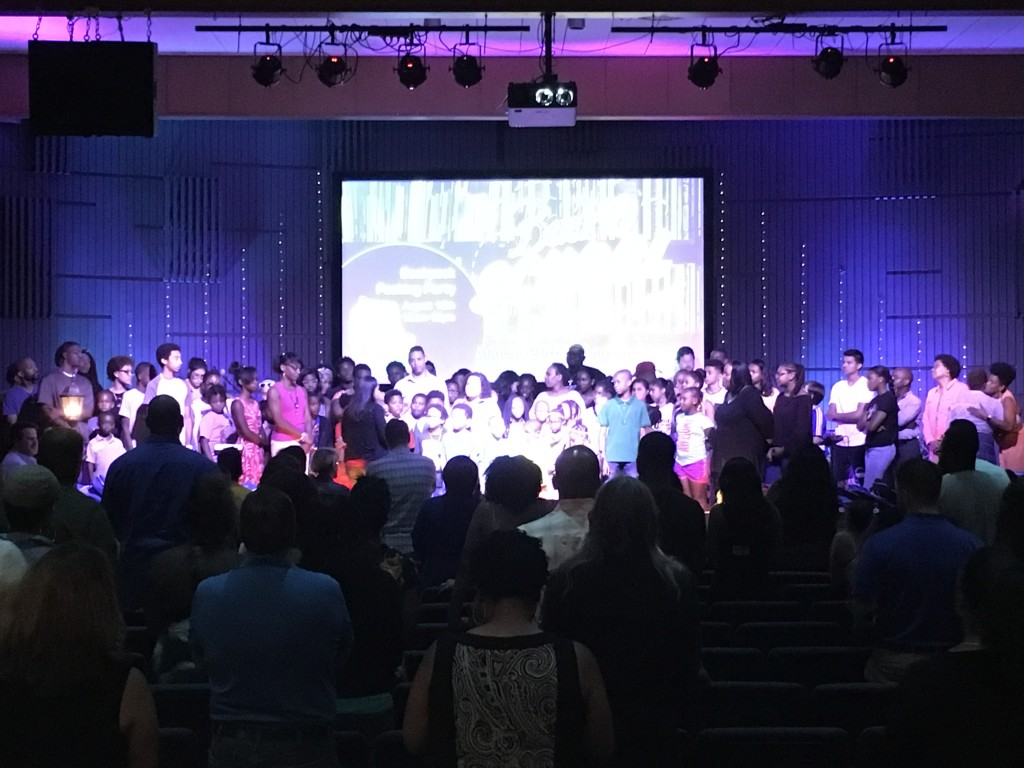 All of the Hammond campus K-12 and Educators on the platform for prayer today!