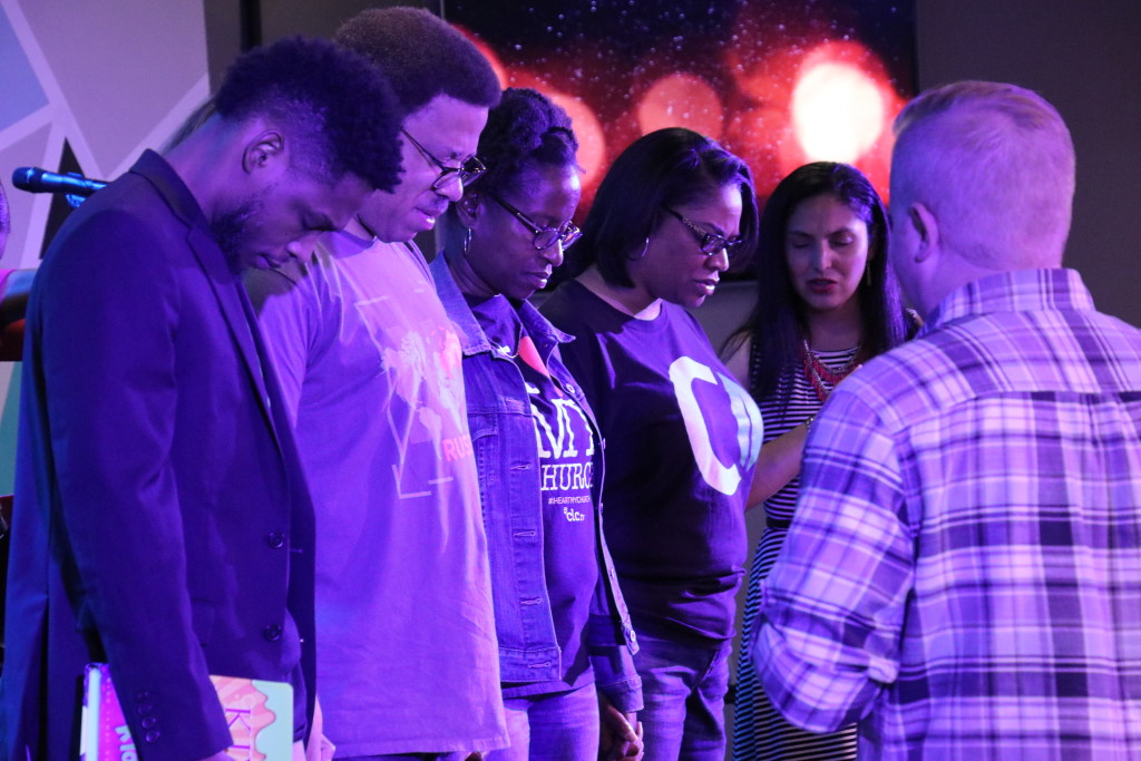 Blue Island members of the Croatia team receiving prayer from Pastors Brent & Sol - L to R: Harry Valentine, Alan Franklin, Liane Williams & Nikeva Lawrence.