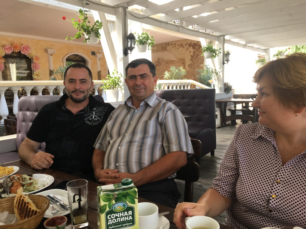 We enjoyed an amazing lunch of Crimean specialties (the bread will be served at the marriage supper of the Lamb - take my word for it!) with our host Pastor Sergei (in center w/striped shirt) and his friend, an Armenian pastor who also owns the restaurant where we ate.