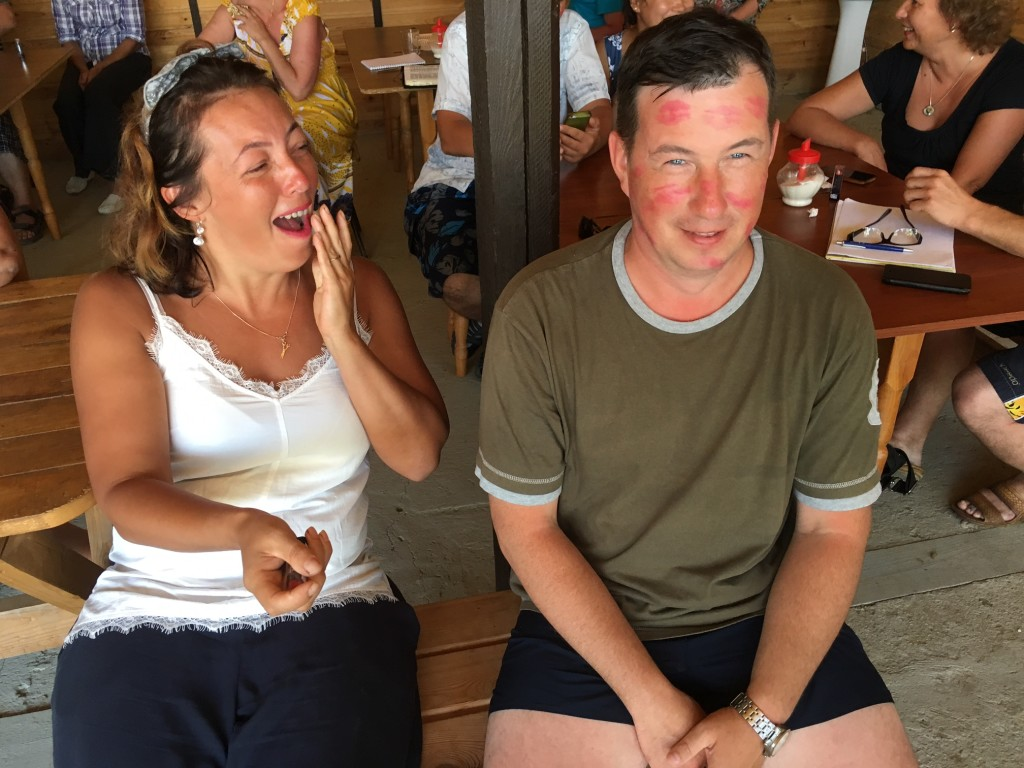 We began the retreat with an icebreaker where each wife kissed her husband's face as many times as possible in 30 seconds. The winner was determined by counting the 'lips' on his face.