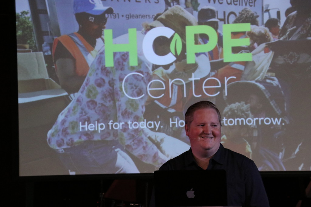 "Pastor Brent unveiled plans for a community ""HOPE CENTER"" in Blue Island, starting with a food pantry - and we already have volunteers ready to serve!"