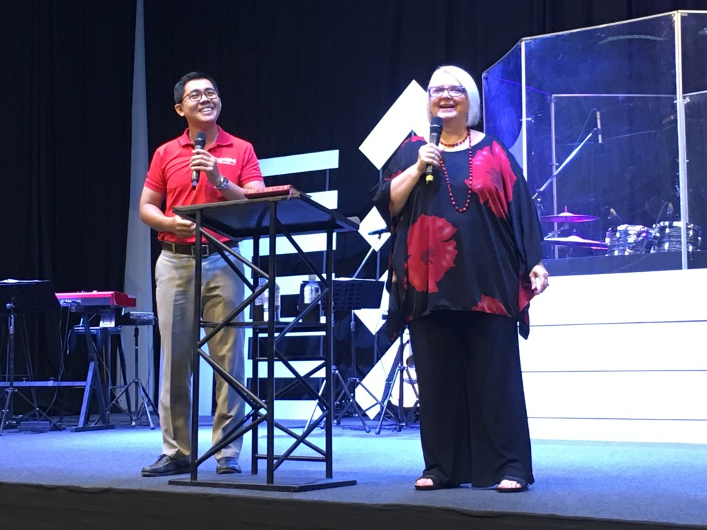 Since I preached both services this morning, Chris gave me a breather tonight & really delivered her heart to the people, with Pastor Samady translating again.