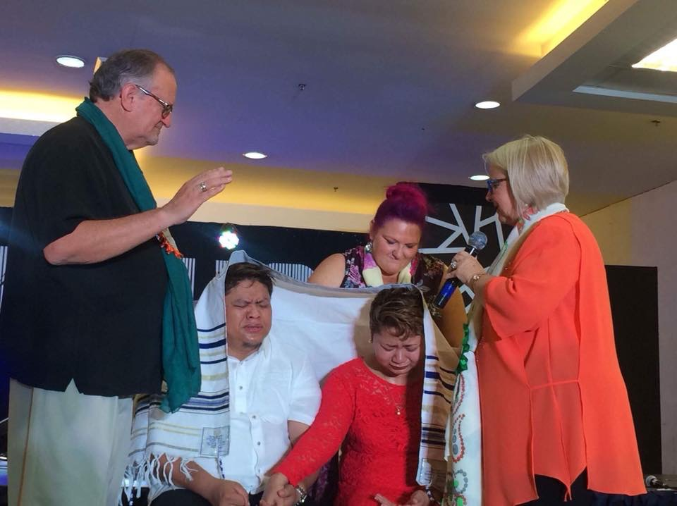 After the ordination, we presented them with a Prayer Shawl (talit) and both of us spoke prophetic words over them.