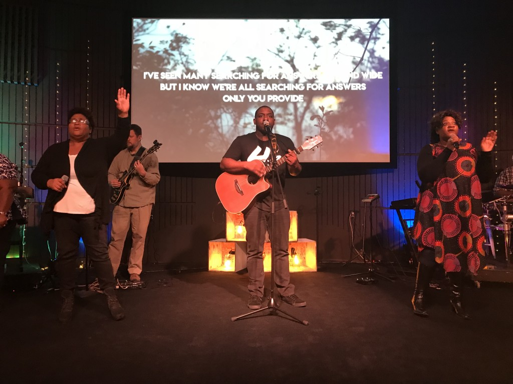Creative screen pics from Andy Esparza and worship led by Tommie Billups at our Hammond Campus-