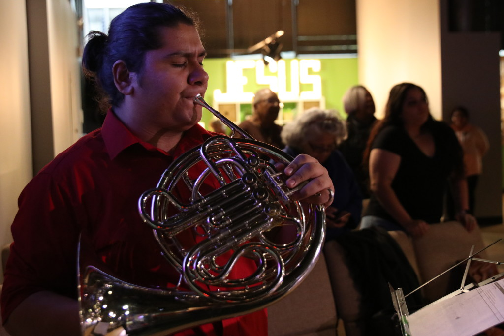 Meanwhile, at our Blue Island campus, worship included a French horn