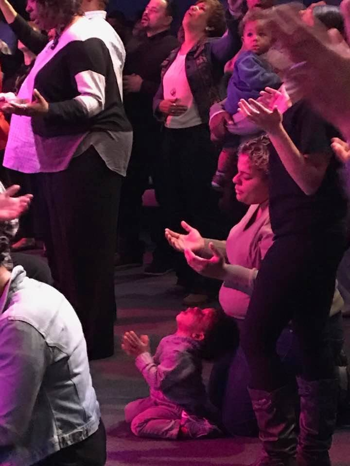 This picture tells the story of both the Conference and all 3 services in Tinley today - the GLORY of God was in the House during worship!