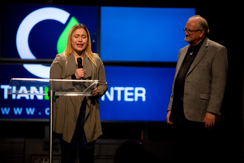 This sweet first-time guest tearfully told us how she had been suicidal, angry with God after her grandfather's recent death, but during the service all of that was washed away and she received comfort from the Lord.