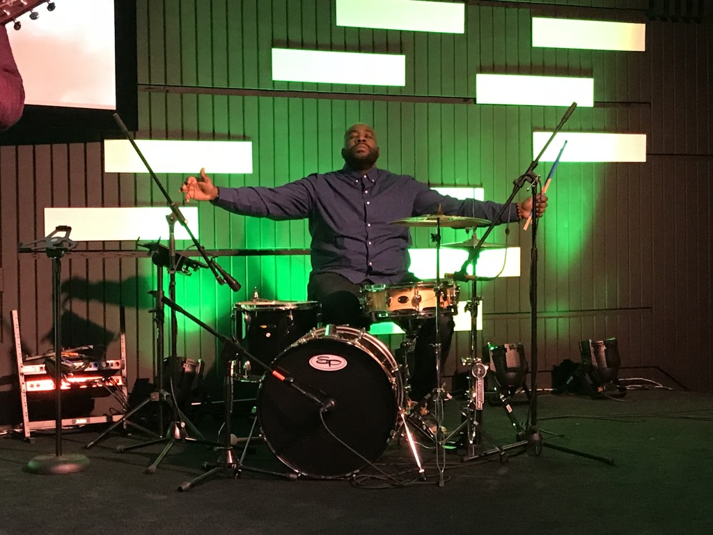 To continue my theme, Mike Usher uses his gifts at our Hammond campus by playing drums with energy & anointing!